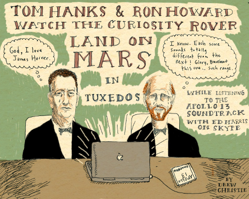 TOM_HANKS_RON_HOWARD_WATCH_CURIOSITY_ROVER_LAND_MARS_DREW_CHRISTIE